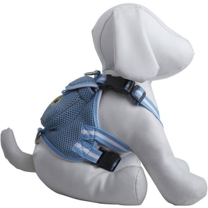 Pet Life ® 'Pocket Bark' Reflective Adjustable Fashion Pet Dog Harness w/ Velcro Pouch and Dual Harness Rings Small Blue
