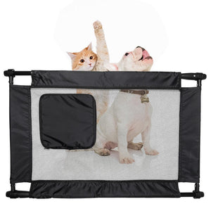 Pet Life ® 'Porta Gate' Anti-Drilling Nylon Mesh Collapsible Folding Travel Safety Pet Cat Dog Gate w/ Zippered Entrance