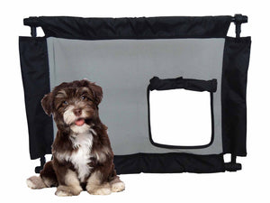 Pet Life ® 'Porta Gate' Anti-Drilling Nylon Mesh Collapsible Folding Travel Safety Pet Cat Dog Gate w/ Zippered Entrance Black