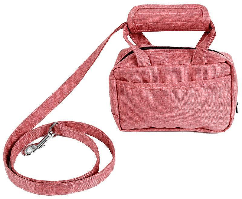 Pet Life ® 'Posh Walk' Purse Dog Leash, Accessory Holder and Waste Bag Dispenser Pink