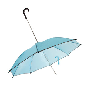 Pet Life ® Pour-Protection Rain Pet Dog Umbrella with Reflective Lining and Leash Connector Light Blue With Black Handle