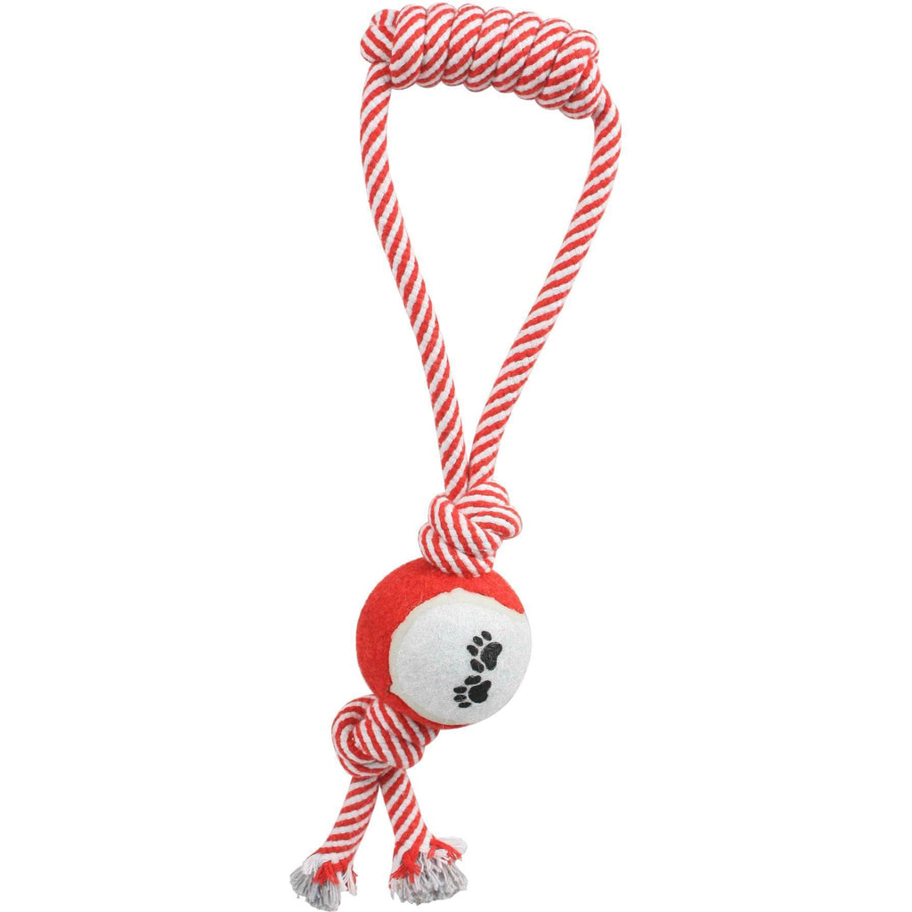 Pet Life ® 'Pull Away' All Natural Jute Rope and Tennis Ball Dog Toy Red