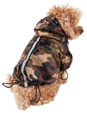 Pet Life ® 'Reflecta-Sport' Multi-Adjustable Reflective Weather-Proof Dog Raincoat w/ Removable Hood X-Small Forest Camouflage