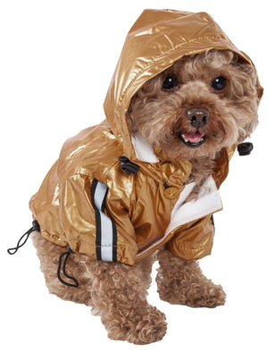 Pet Life ® 'Reflecta-Sport' Multi-Adjustable Reflective Weather-Proof Dog Raincoat w/ Removable Hood X-Small Mustard Yellow