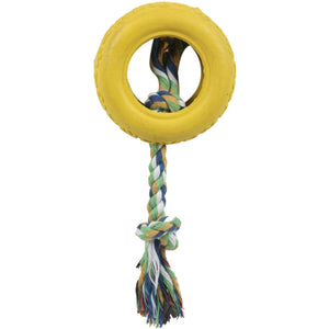 Pet Life ® Rubberized Chew Jute Rope and Tire Pet Dog Toy