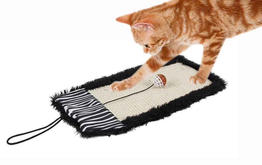 Pet Life ® 'Scrape-Away' Sisal and Jute Hanging Carpet Cat Scratcher Toy Black