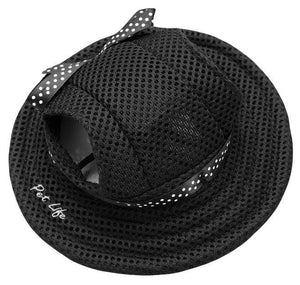 Pet Life ®  'Sea Spot Sun' UV Protectant Adjustable Fashion Mesh Brimmed Dog Hat Cap Medium Black