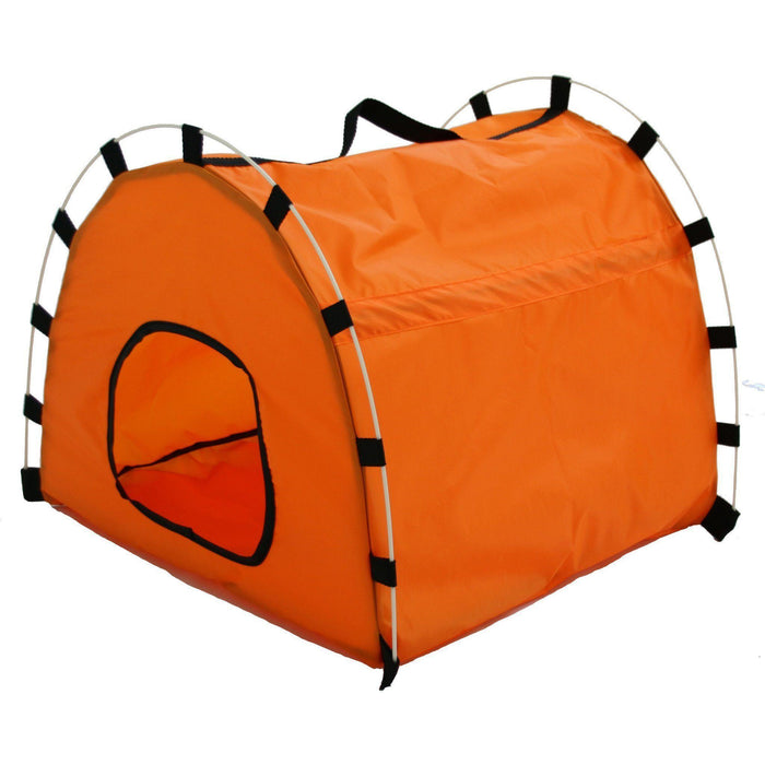 Pet Life ® 'Skeletal Outdoor' Travel Camping Wire-Folding Collapsible Pet Dog Crate House Tent w/ Travel Bag