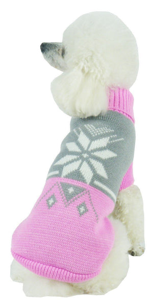 Pet Life ® Snow Flake Cable-Knitted Ribbed Fashion Turtle Neck Dog Sweater X-Small Pink And Grey