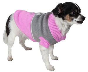 Pet Life ® Snow Flake Cable-Knitted Ribbed Fashion Turtle Neck Dog Sweater
