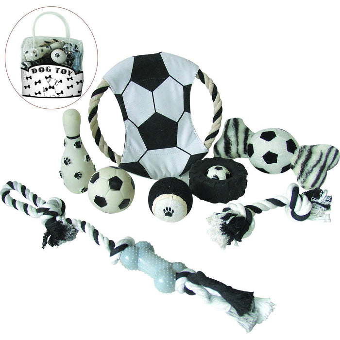 Pet Life ® 'Soccer Themed' 9 Piece Jute Rope and Rubberized Squeak Chew Pet Dog Toy Gif...