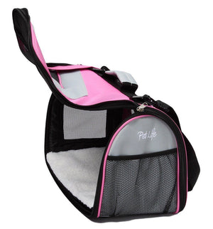 Pet Life ® Sporty Mesh Airline Approved Zippered Folding Collapsible Travel Pet Dog Carrier