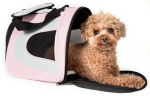 Pet Life ® Sporty Mesh Airline Approved Zippered Folding Collapsible Travel Pet Dog Car...