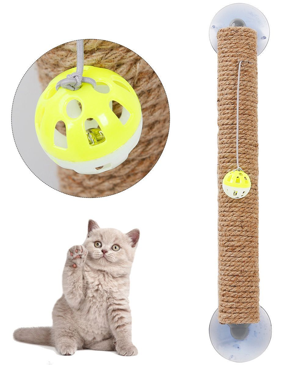 Pet Life ® 'Stick N' Claw' Sisal Rope and Toy Suction Cup Stick Shaped Cat Scratcher De...