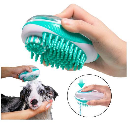 Pet Life ® 'Swasher' Shampoo Dispensing Massage and Bathing Brush Default Title