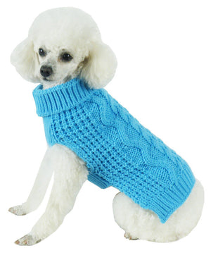 Pet Life ® 'Swivel-Swirl' Heavy Cable Knitted Fashion Designer Dog Sweater X-Small Light Blue
