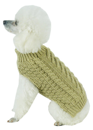 Pet Life ® 'Swivel-Swirl' Heavy Cable Knitted Fashion Designer Dog Sweater X-Small Tan Brown