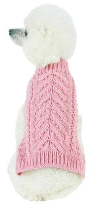 Pet Life ® 'Swivel-Swirl' Heavy Cable Knitted Fashion Designer Dog Sweater X-Small Pink