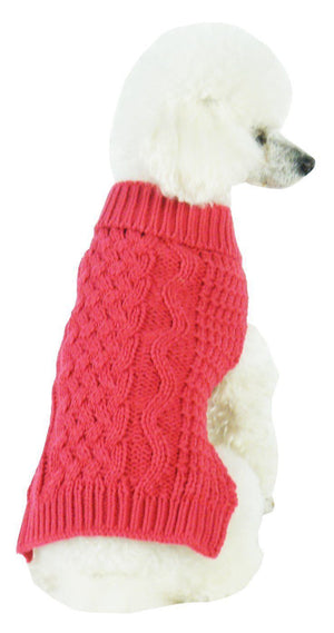 Pet Life ® 'Swivel-Swirl' Heavy Cable Knitted Fashion Designer Dog Sweater X-Small Red Salmon