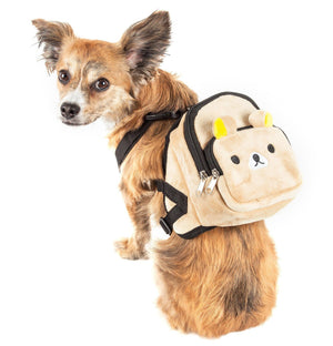 Pet Life ® 'Teddy Tails' Dual-Pocketed Animated Fashion Dog Harness Backpack