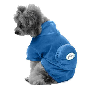 Pet Life ® 'Thunder Paw' Ultimate Waterproof Collapsible Multi-Adjustable Travel Dog Raincoat X-Small Blue