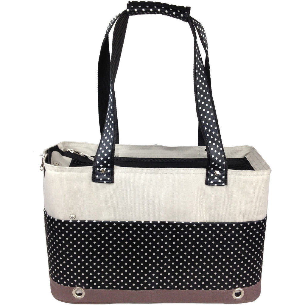 Pet Life ® 'Tote n' Boater' Trendy Spotted Designer Fashion Travel Pet Dog Carrier Defa...