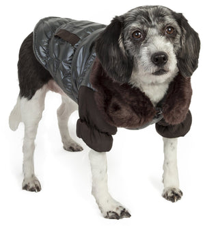 Pet Life ® Track-Collared' Metallic Ultra Fur 3M Insulated Pet Dog Jacket X-Small
