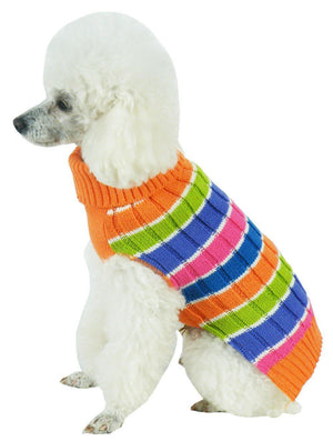 Pet Life ® 'Tutti-Beauty' Rainbow Heavy Cable Knitted Ribbed Designer Turtle Neck Dog Sweater X-Small