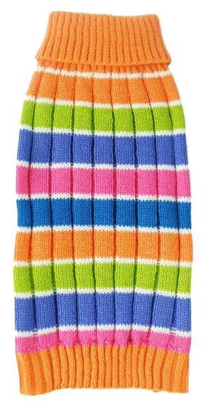 Pet Life ® 'Tutti-Beauty' Rainbow Heavy Cable Knitted Ribbed Designer Turtle Neck Dog Sweater