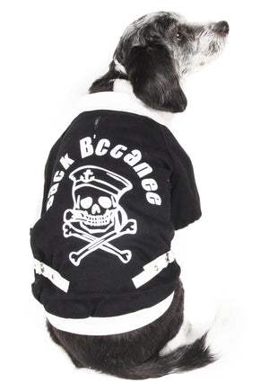 Pet Life ® 'Varsity-Barkcity' Buckled Collared Dog Coat Jacket X-Small Black/White