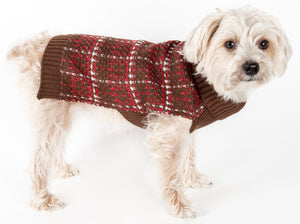 Pet Life ® Vintage Symphony Static Fashion Knitted Designer Dog Sweater X-Small Mud Brown, Red And White