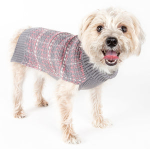Pet Life ® Vintage Symphony Static Fashion Knitted Designer Dog Sweater X-Small Grey, Pink And White