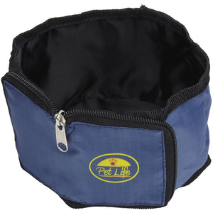 Pet Life ® Wallet Folding Waterproof Zippered Folding Pet Travel Cat and Dog Bowl Blue