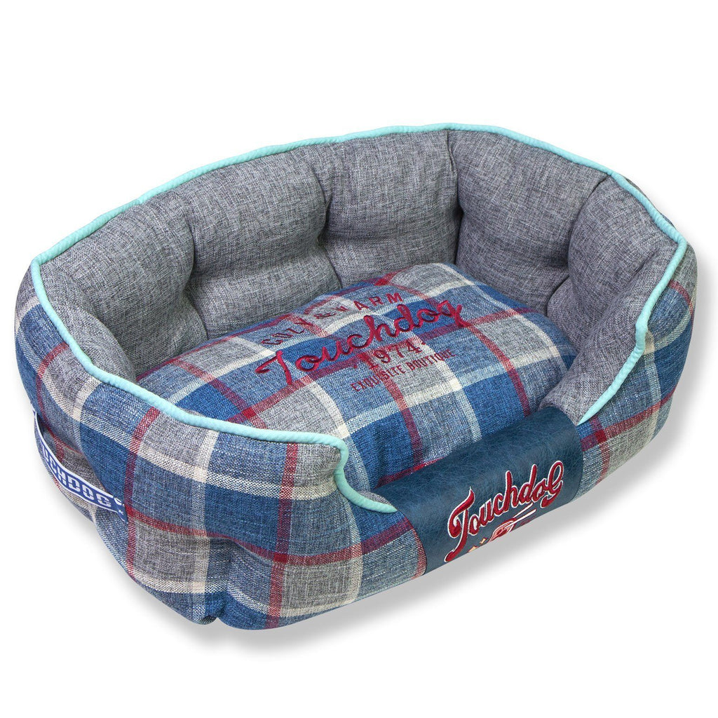 Touchdog 'Archi-Checked' Designer Plaid Oval Dog Bed Medium Blue
