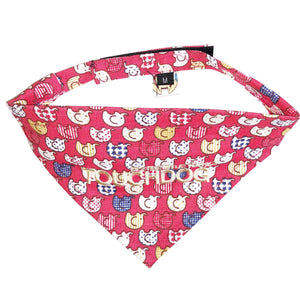 Touchdog Elephant Patterned Velcro Fashion Dog Bandana Small Red