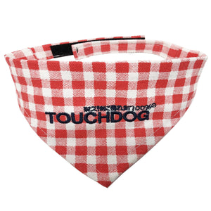 Touchdog Plaid Patterned Velcro Fashion Dog Bandana Small Red