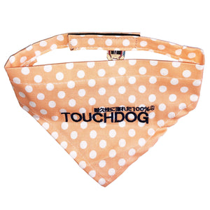 Touchdog Polka-dot Patterned Velcro Fashion Dog Bandana Small Peach