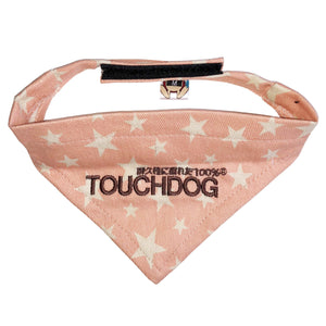 Touchdog Star Patterned Velcro Fashion Dog Bandana Small Pink