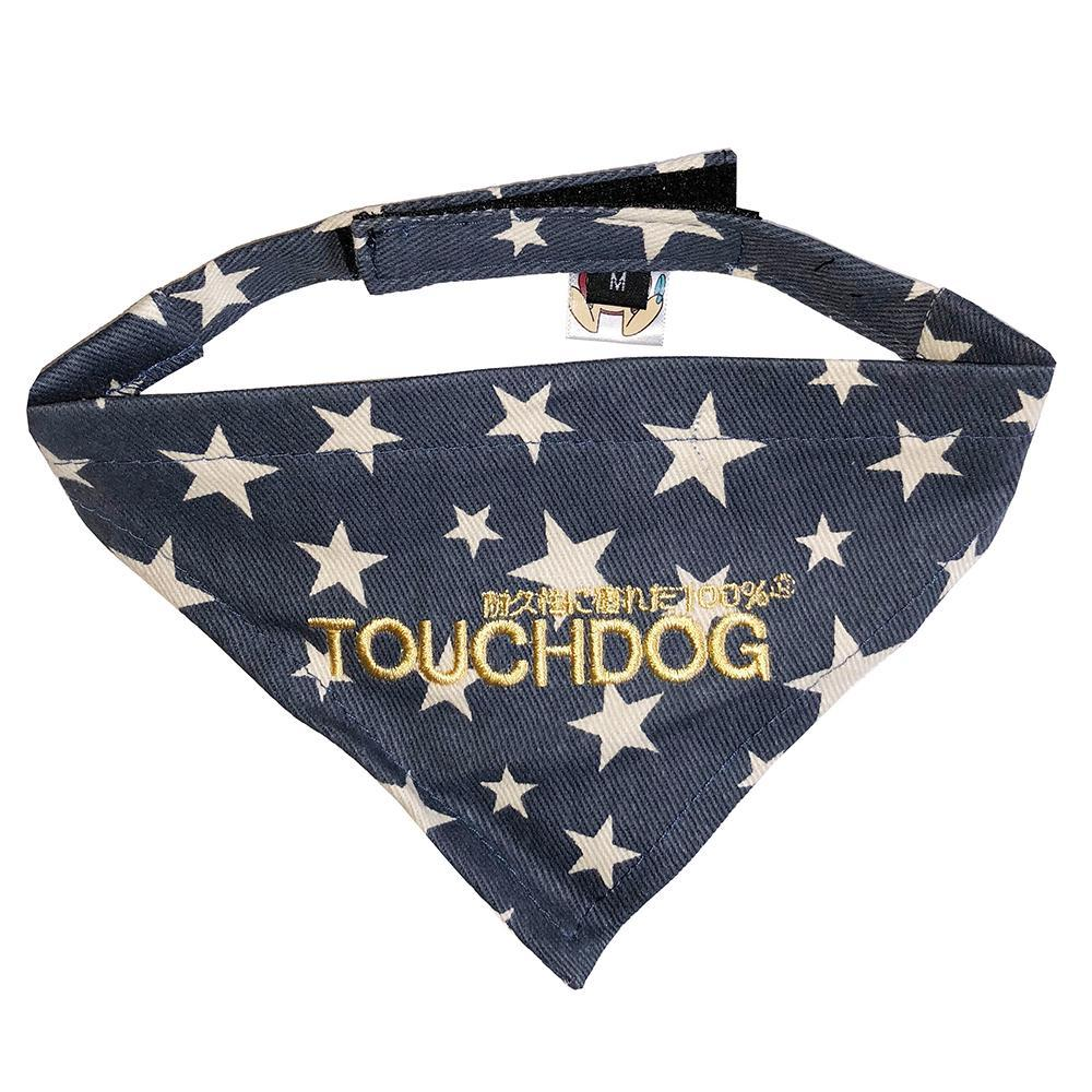 Touchdog Designer Velcro Bandana - Blue Medium