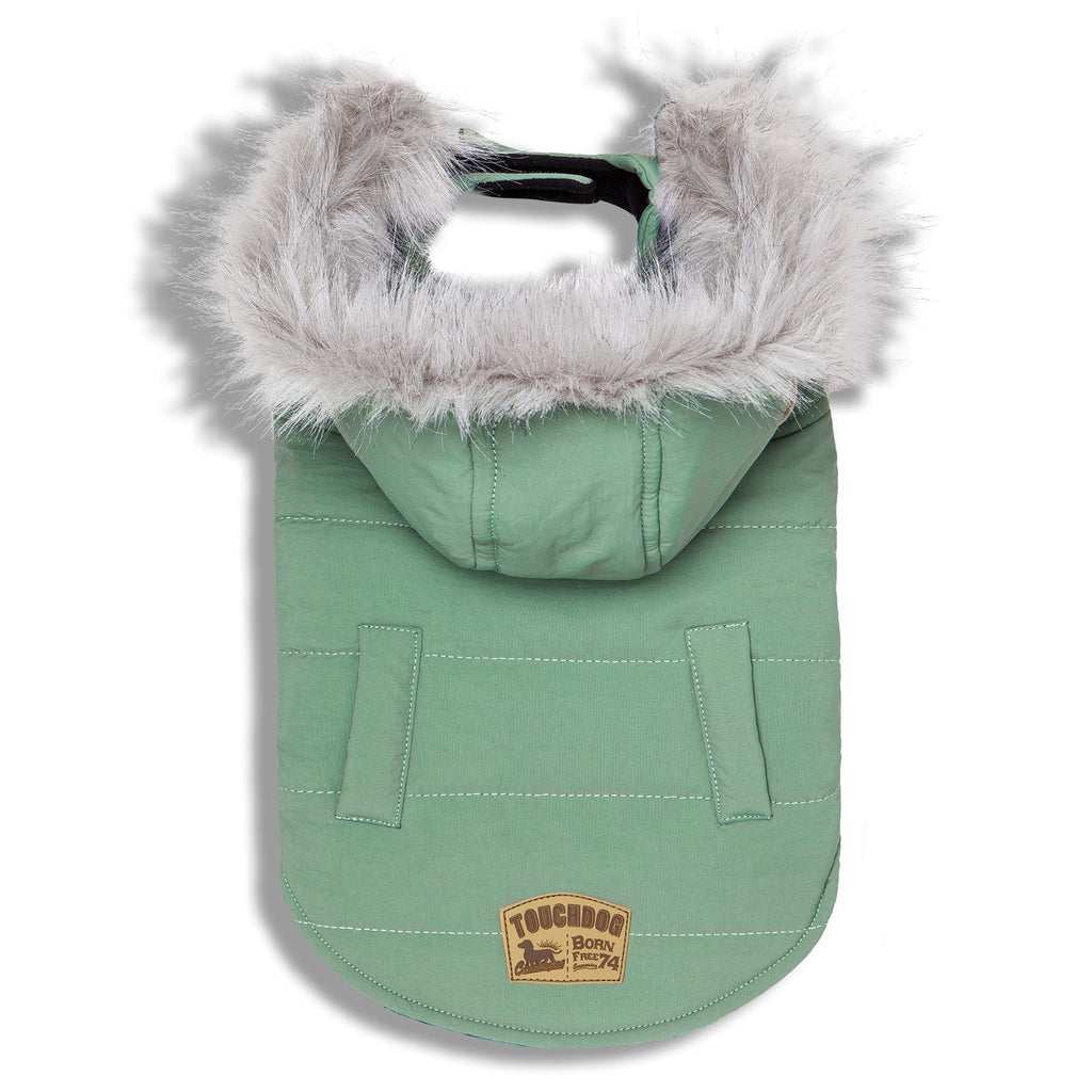 Touchdog 'Eskimo-Swag' Duck-Down Insulated Winter Dog Coat Parka X-Small Mint Green