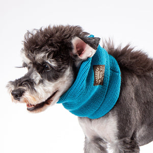 Touchdog Heavy Knitted Designer Fashion Winter Dog Scarf Blue