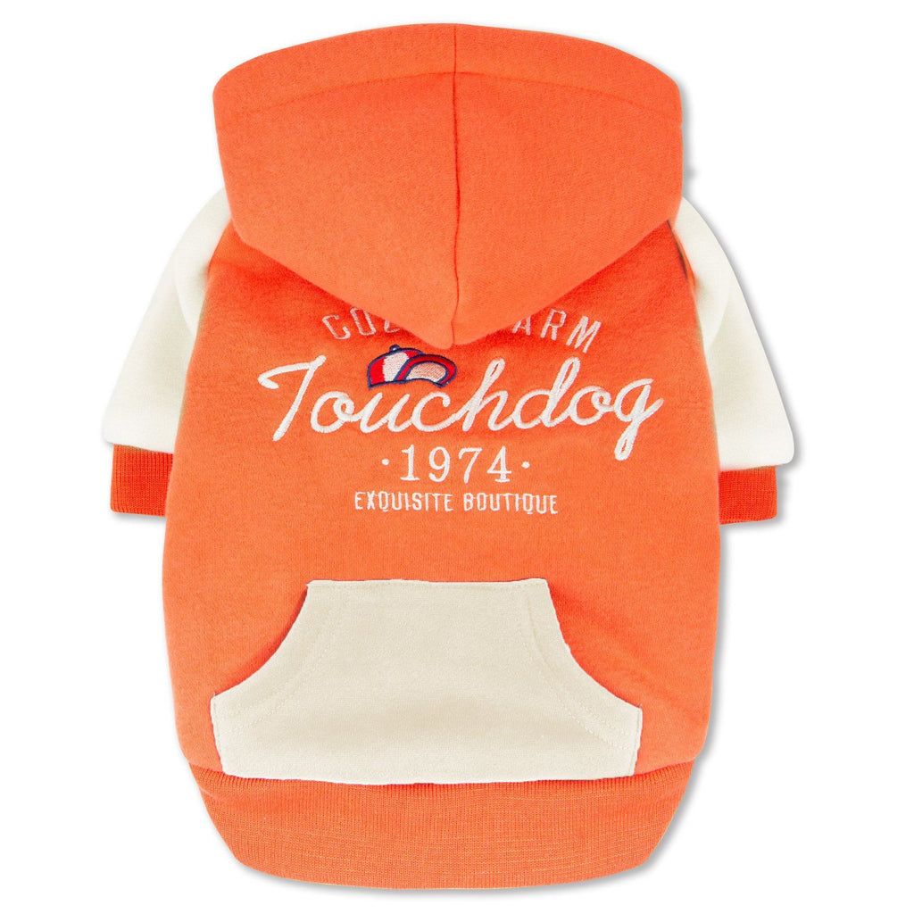 Touchdog 'Heritage' Soft-Cotton Fashion Dog Hoodie Sweater X-Small Orange