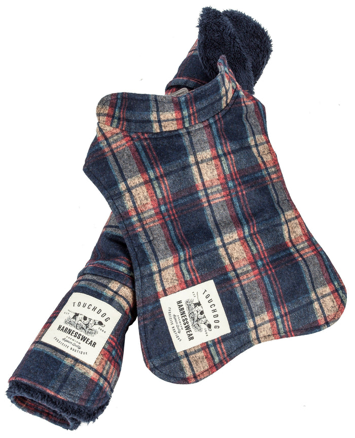 Touchdog ® 2-In-1 Tartan Plaid Dog Jacket and Matching Reversible Dog Mat