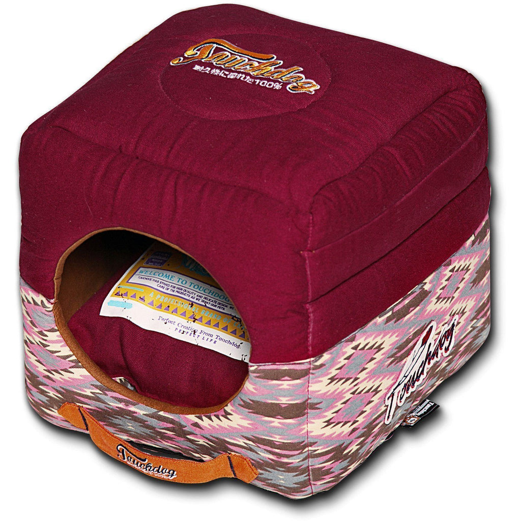 Touchdog ® '70's Vintage-Tribal' 2-in-1 Collapsible Squared Dog and Cat Bed Sangria Pink