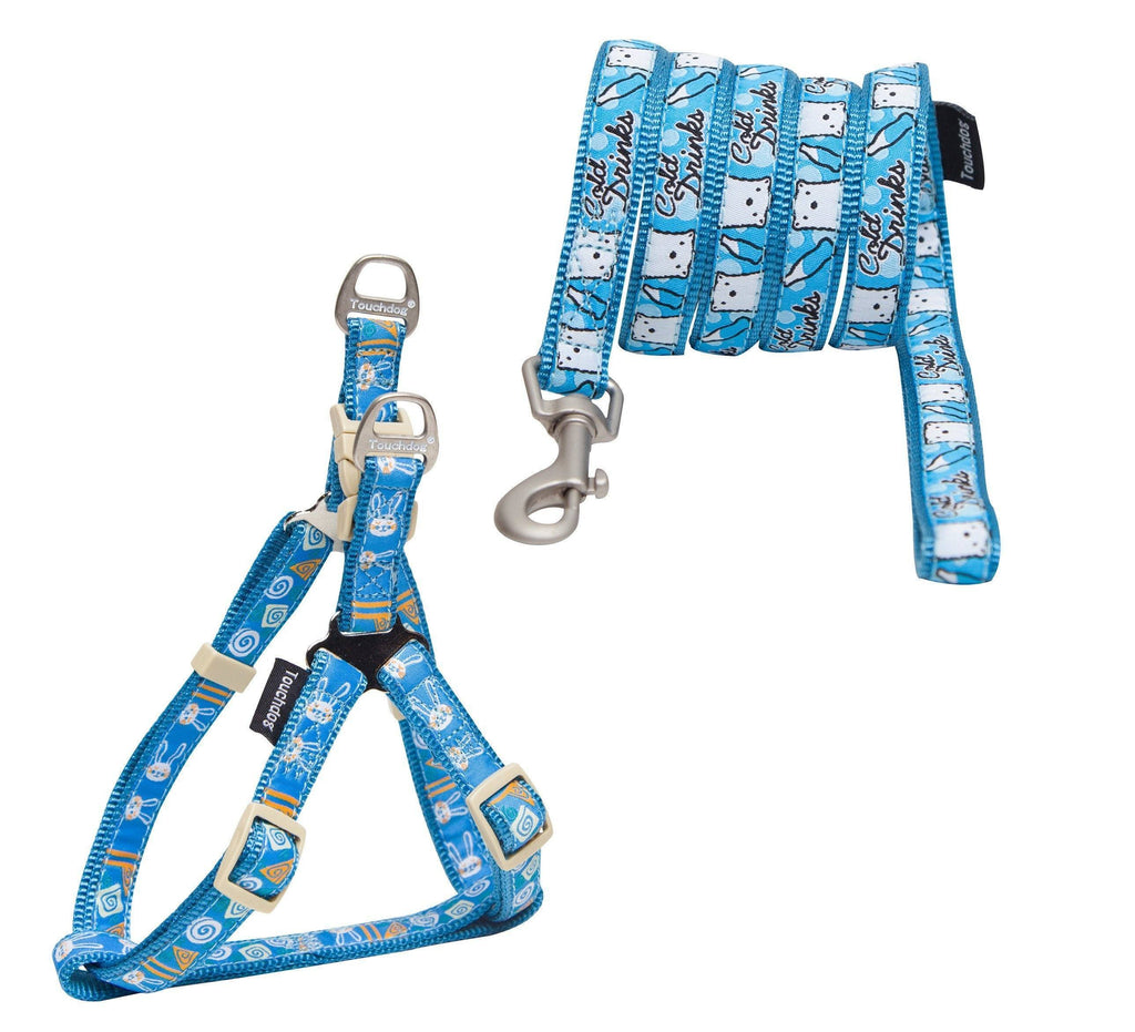 Touchdog ® 'Caliber' Embroidered Designer Fashion Pet Dog Leash and Harness Combination Small Blue Pattern