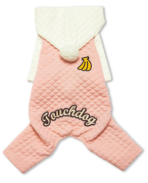 Touchdog ® Fashion Designer Full Body Quilted Pet Dog Hooded Sweater X-Small Pink/White