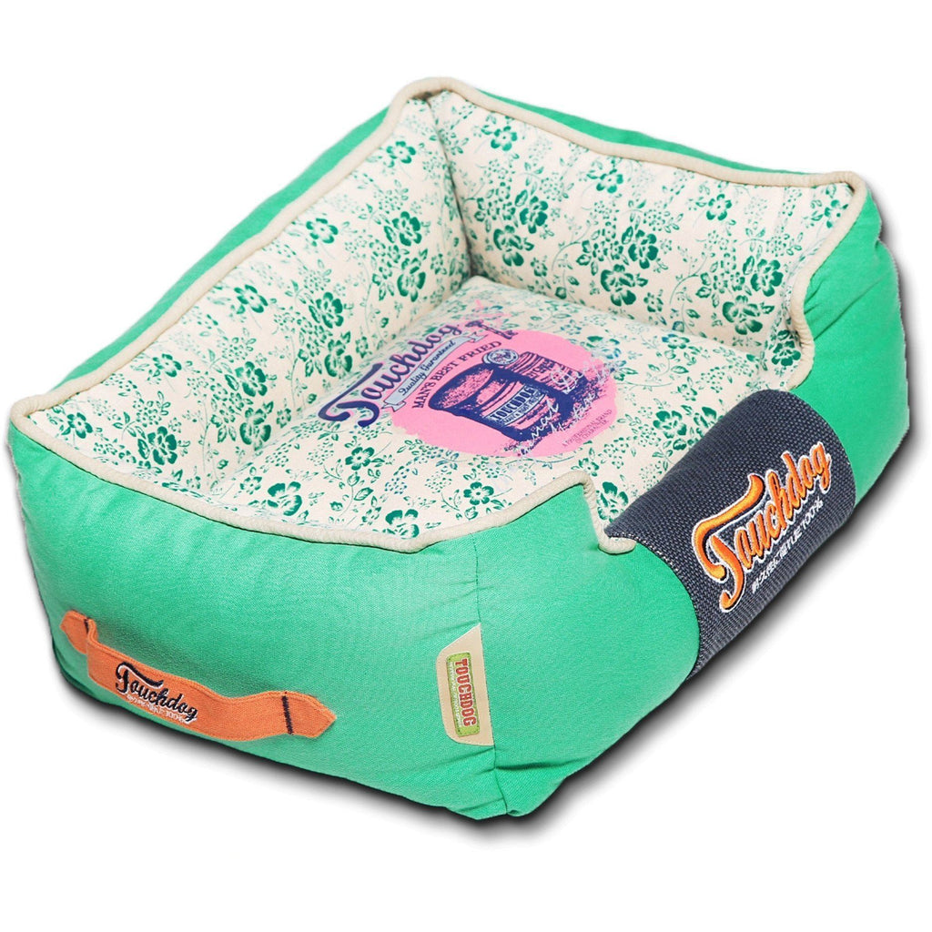 Touchdog ® 'Floral-Galoral' Designer Rectangular Dog Bed Medium Teal, Green, White