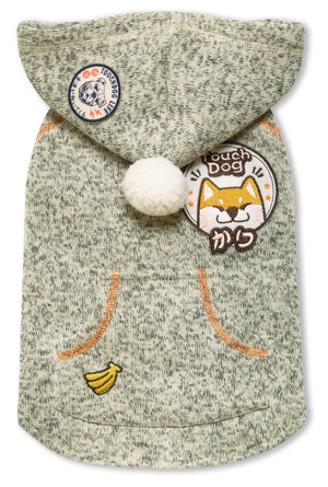 Touchdog ® Hippie Embellished Sleeveless Pompom Hooded Fashion Dog Sweater X-Small Olive Green