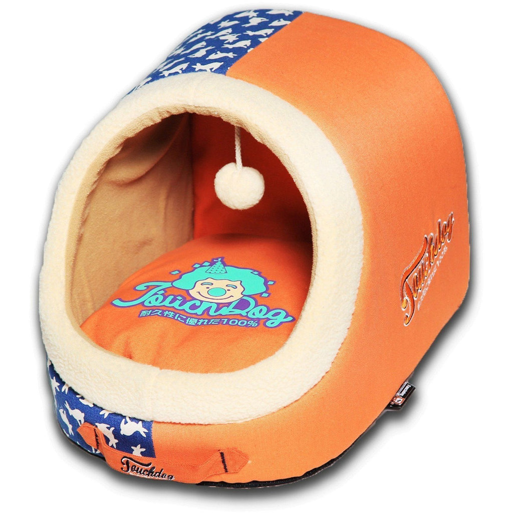 Touchdog ® 'Lazy-Bones' Rabbit-Spotted Panoramic Cat Bed with Teaser Toy Orange, Ocean Blue