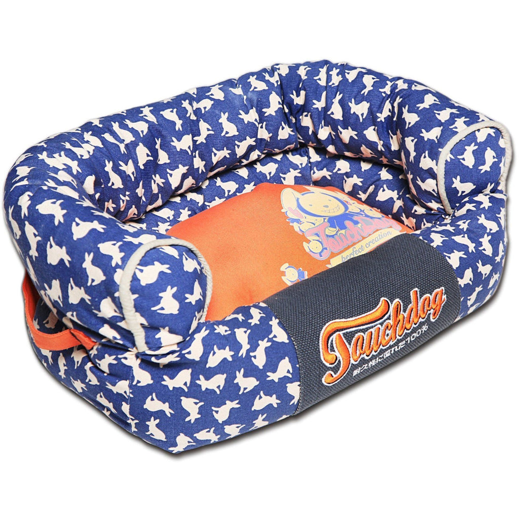 Touchdog ® 'Lazy-Bones' Rabbit-Spotted Designer Couch Dog Bed Medium Ocean Blue, Orange
